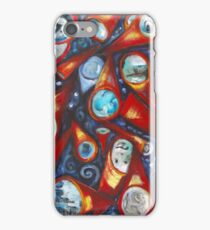 Conical .. telescopic playfulness in red and cobalt iPhone Case/Skin
