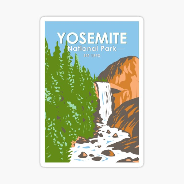 Yosemite National Park Vernal Fall California Vintage Sticker
