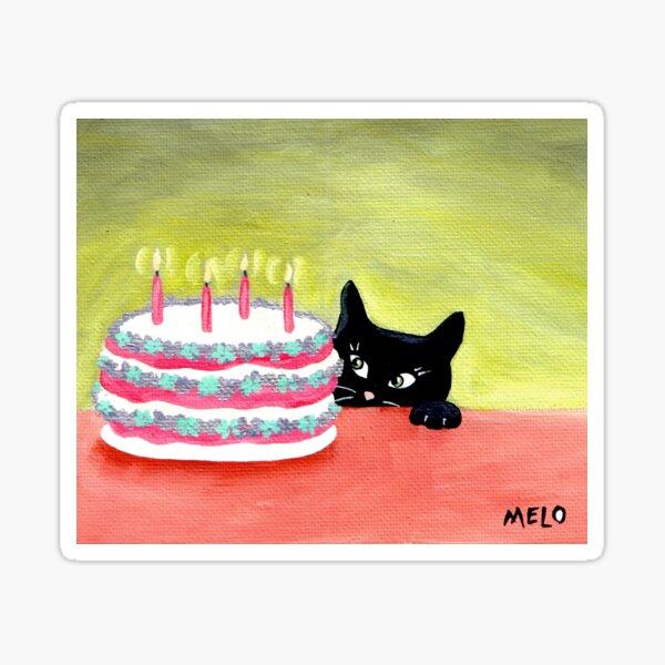 Meow Pussycat Cat Cake Furbaby Birthday Sticker