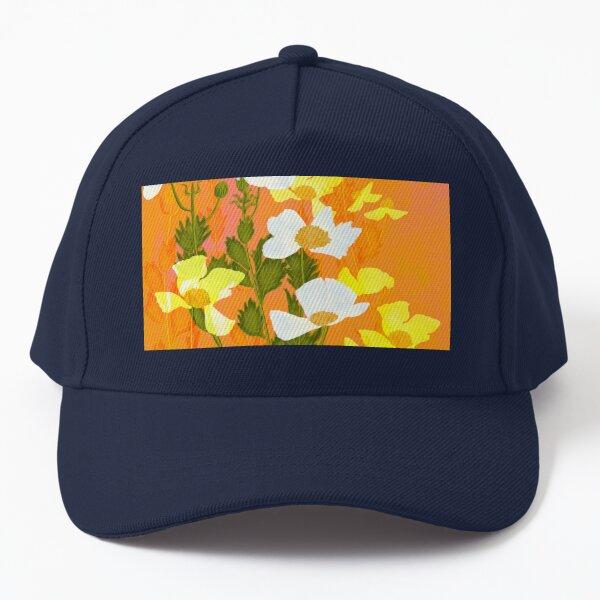 Hot Neon Summer White Poppies Baseball Cap