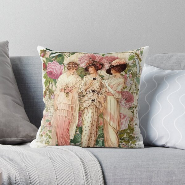 Victorian Ladies, Vintage Print, Shabby Chic Vintage, Pink Roses, Victorian Printable. Throw Pillow
