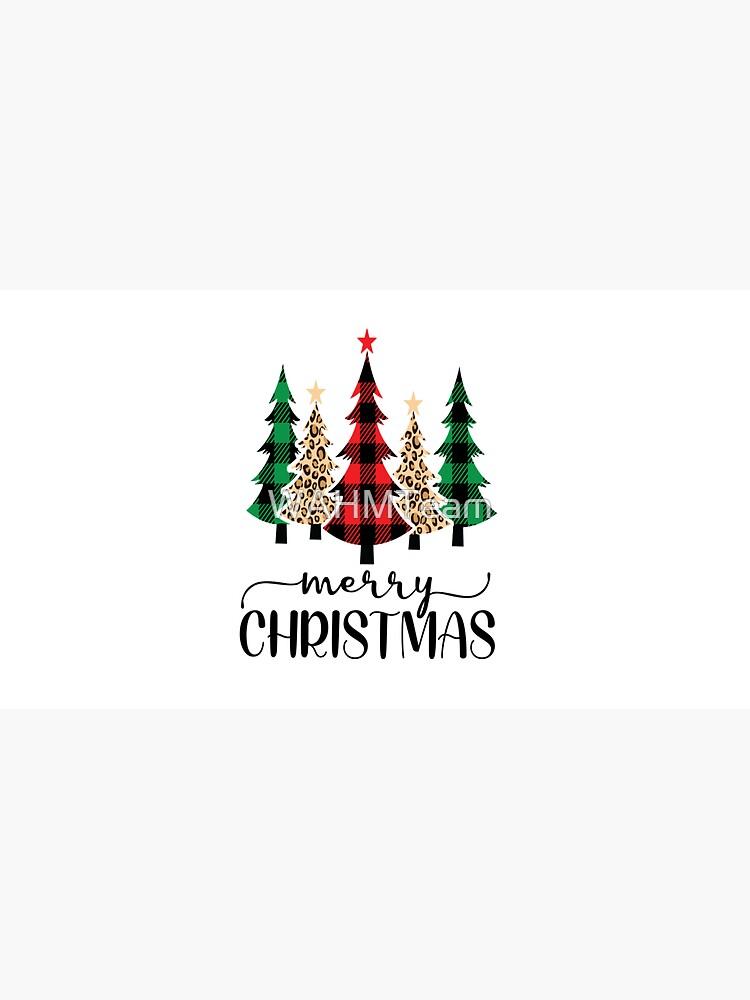 Pine Trees Merry Christmas Buffalo Plaid Leopard Print by WAHMTeam