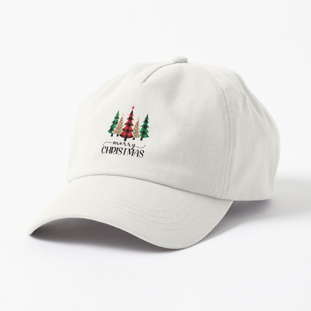 Pine Trees Merry Christmas Buffalo Plaid Leopard Print Cap