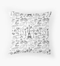 Seamless pattern Paris symbols Throw Pillow