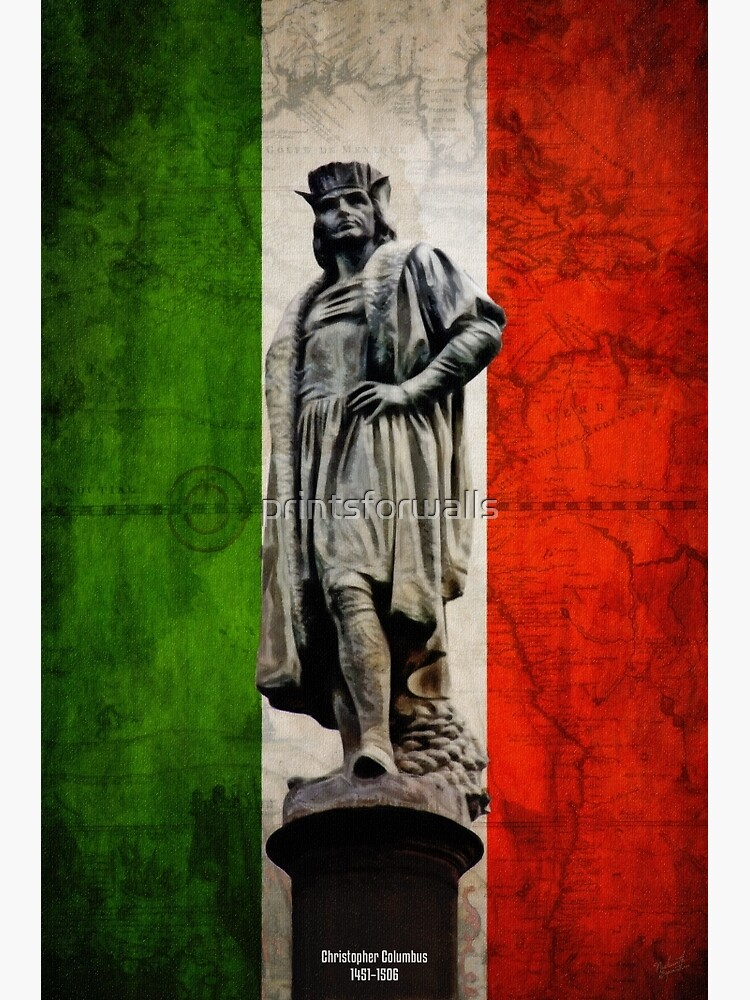 Christopher Columbus Statue with Italian Flag by printsforwalls