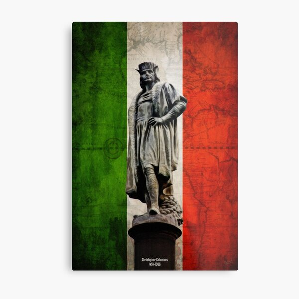 Christopher Columbus Statue with Italian Flag Metal Print