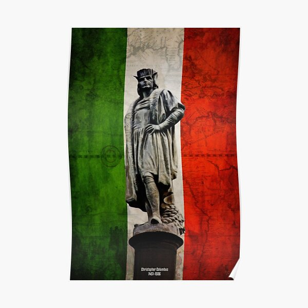 Christopher Columbus Statue with Italian Flag Poster