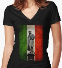 Christopher Columbus Statue with Italian Flag Women's Fitted V-Neck T-Shirt