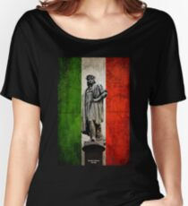 Christopher Columbus Statue with Italian Flag Women's Relaxed Fit T-Shirt