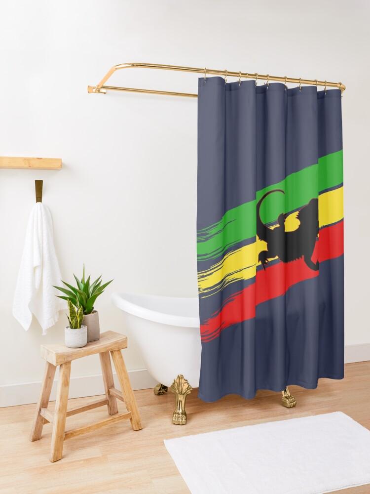 Alternate view of Rastabeardian Shower Curtain