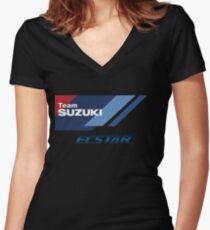 MotoGP Suzuki Ecstar Team Women's Fitted V-Neck T-Shirt