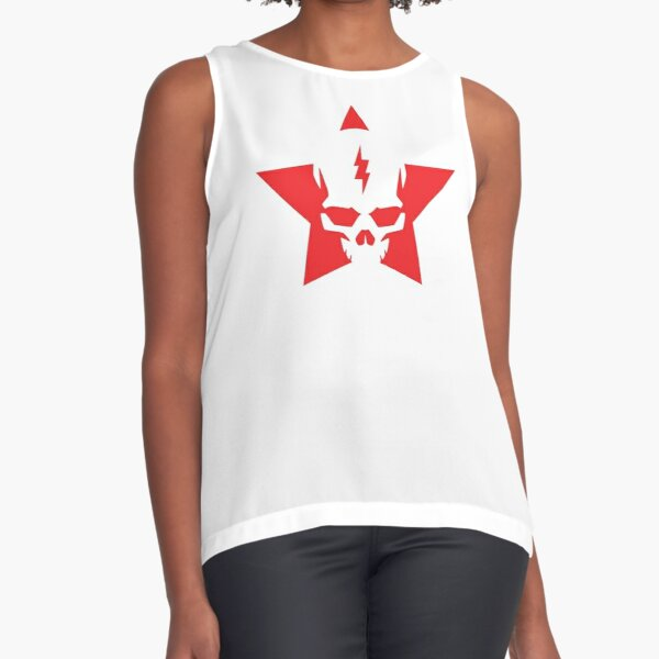 SkullStar WhiteRed Logo Sleeveless Top
