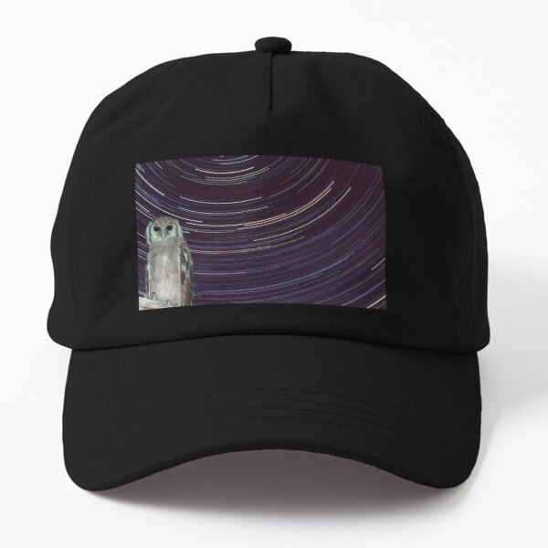 Giant Eagle Owl and star trails around south celestial pole Dad Hat