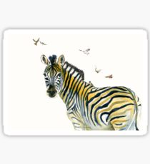 Zebra and Birds Sticker
