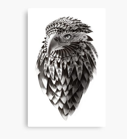 Ornate Tribal Shaman Eagle Print Canvas Print