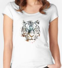 Tiger Cool Chill Space Modern Street Art Women's Fitted Scoop T-Shirt