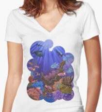 Underwater coral reef Women's Fitted V-Neck T-Shirt