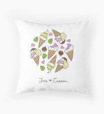 cartoon ice cream cones  Throw Pillow