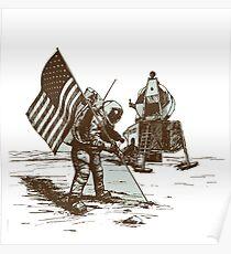 Apollo Moon Landing Vintage Space Cartoon Poster