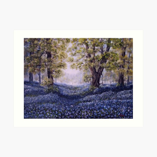 """Mary's Bluebells"" - oil painting Art Print"