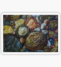 River Stones Oil Painting Sticker