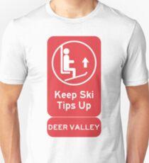 Ski Tips Up! Time to ski! Deer Valley! Unisex T-Shirt