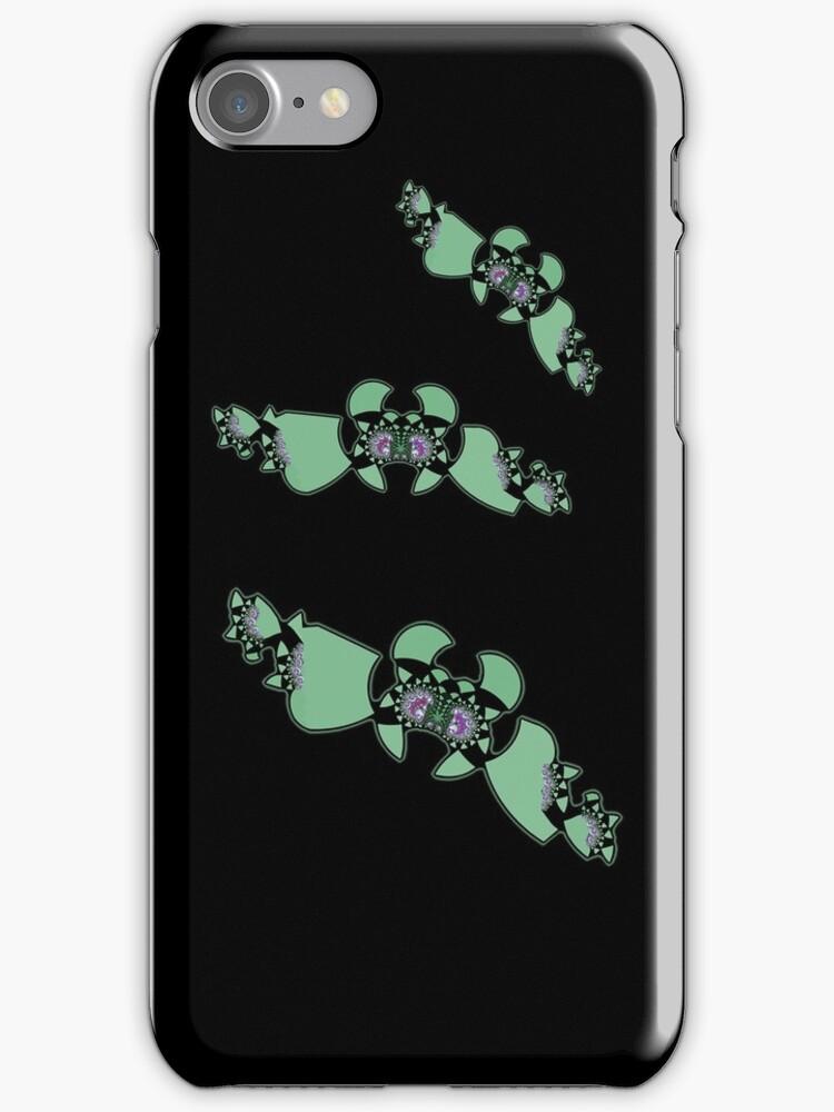 Geek style flying fractals pattern design II by Marianne Campolongo