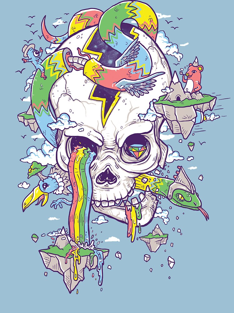 Flying Rainbow skull Island | Unisex T-Shirt