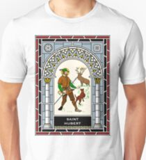 ST HUBERT OF LIEGE the HUNTER under STAINED GLASS Unisex T-Shirt
