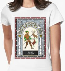 ST HUBERT OF LIEGE the HUNTER under STAINED GLASS Womens Fitted T-Shirt