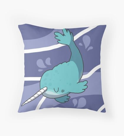 Swimming Narwhal  Throw Pillow