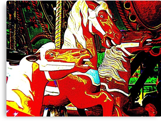 Trio Of Carousel Horseys by Jean Gregory  Evans