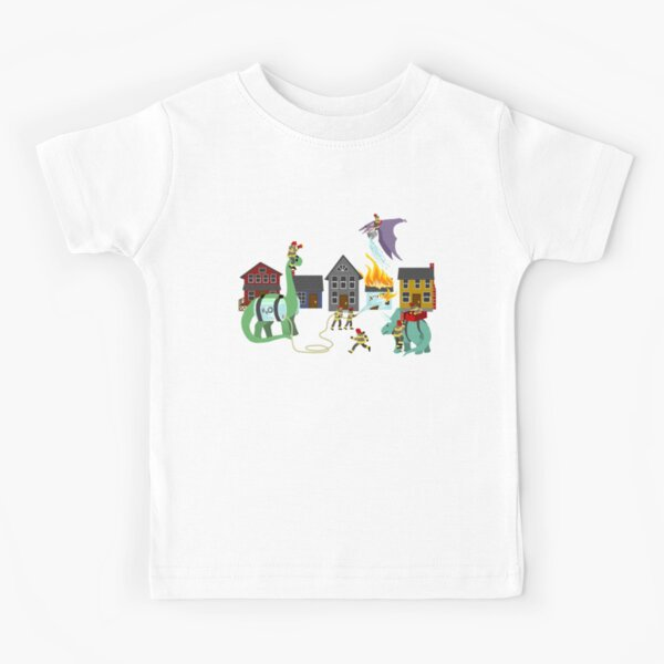 Firefighters and Dinosaurs, Together at Last Kids T-Shirt
