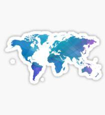 Blue world map. Sticker