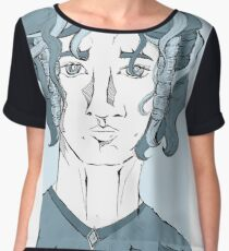 Fantasy man with curly hair Women's Chiffon Top