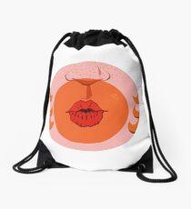 Orange Bubblegum Balloon  Drawstring Bag