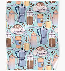 Coffee Love on Blue Poster
