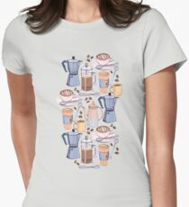 Coffee Love on Blue Womens Fitted T-Shirt