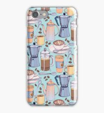 Coffee Love on Blue iPhone Case/Skin