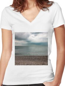 Pebbles, Sea, Sky Women's Fitted V-Neck T-Shirt