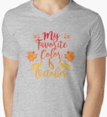 My Favorite Color is October Mens V-Neck T-Shirt