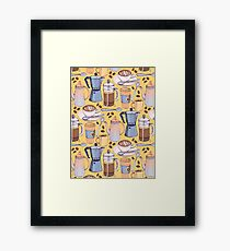 Coffee Love on Yellow Framed Print