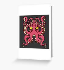 Graphic Octopus (Red) Greeting Card