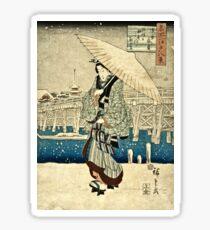 Ando Hiroshige - Eight Views Of Edo, Evening Snow At Asakusa, Date Unknown  Sticker