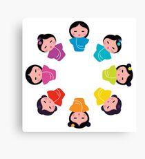 Cartoon japanese characters : little Geishas Canvas Print