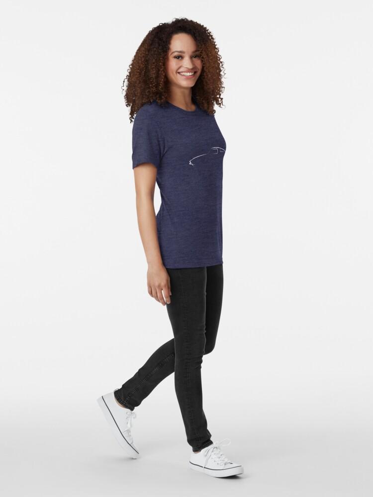 Alternate view of Profile Silhouette Stingray - white Tri-blend T-Shirt