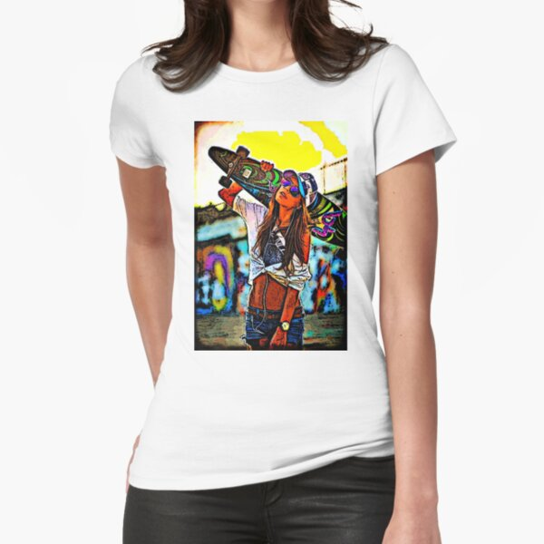 Longboard Girl  Fitted T-Shirt