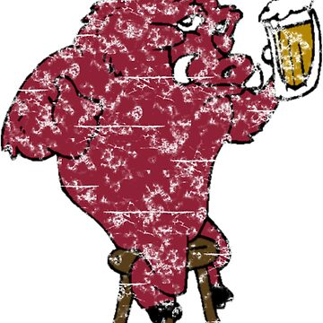 Beer Drinking Razorback Hog by Sportswear