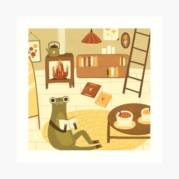 Froggie reading a book in her little house Art Print