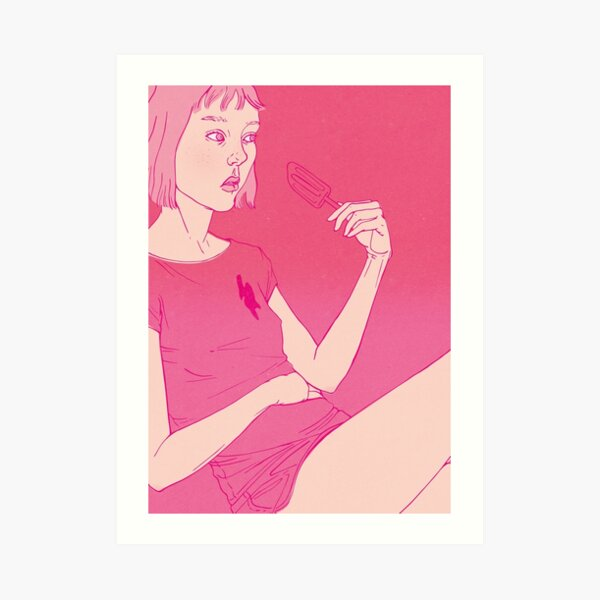 Girl eating an icecream on a hot day Art Print